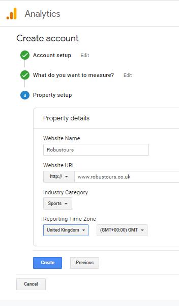 Property setup Google Analytics